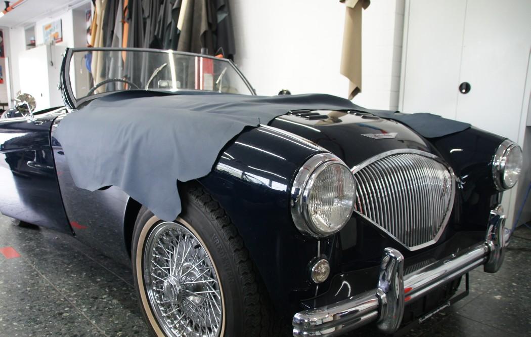 Austin Healey 100-4 Innenausstattung und Cabrioverdeck